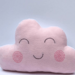 pink smiley cloud cushion