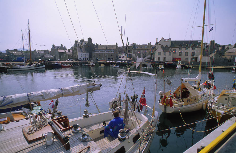 Shetlands fishing dock sailing boats on river