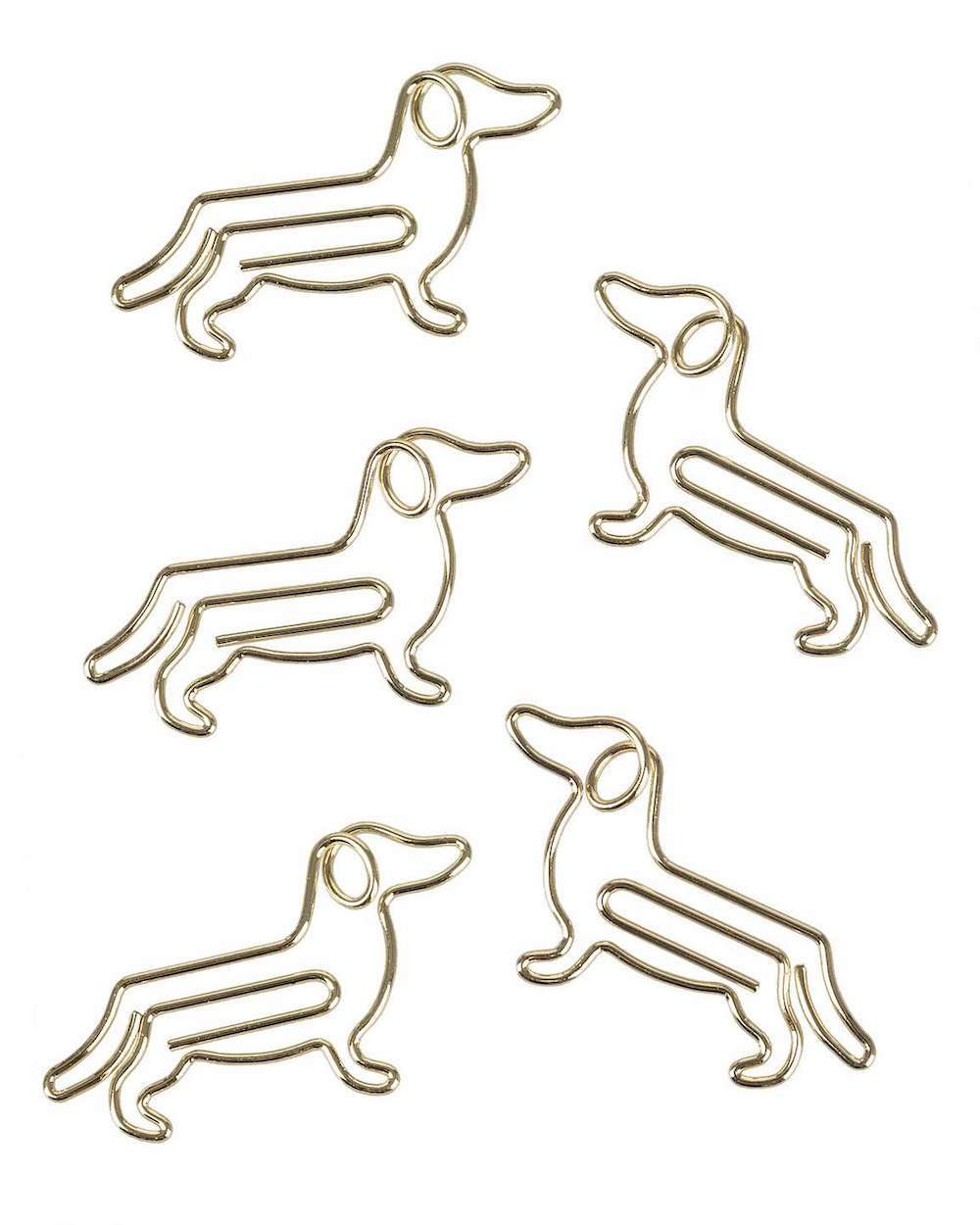 five sausage dog gold paperclips