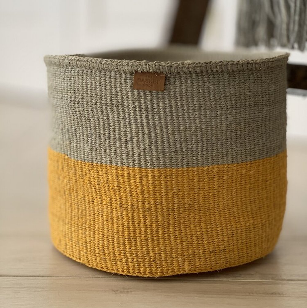 Yellow & Grey Duo Colour Block Woven Basket