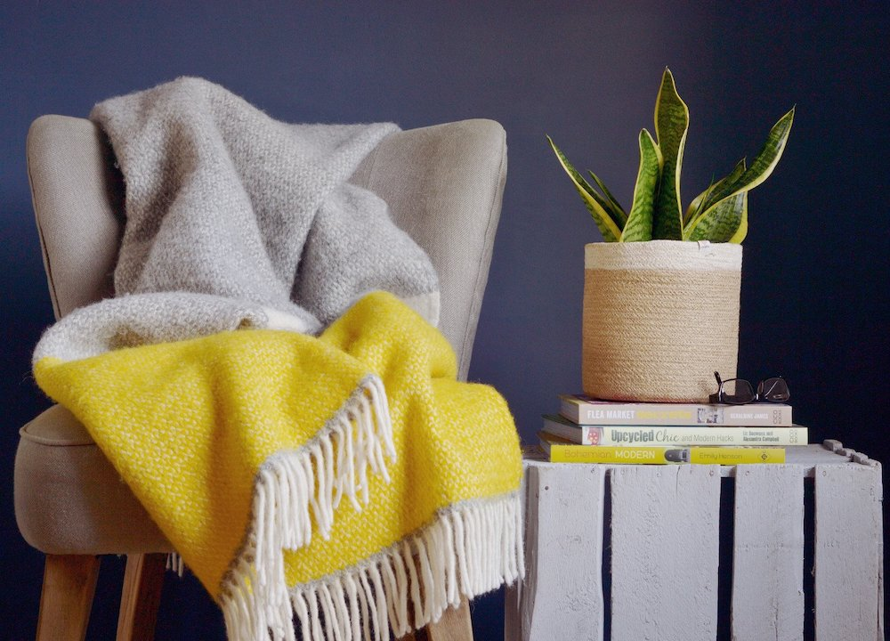 Yellow & Grey Semaphore Throw