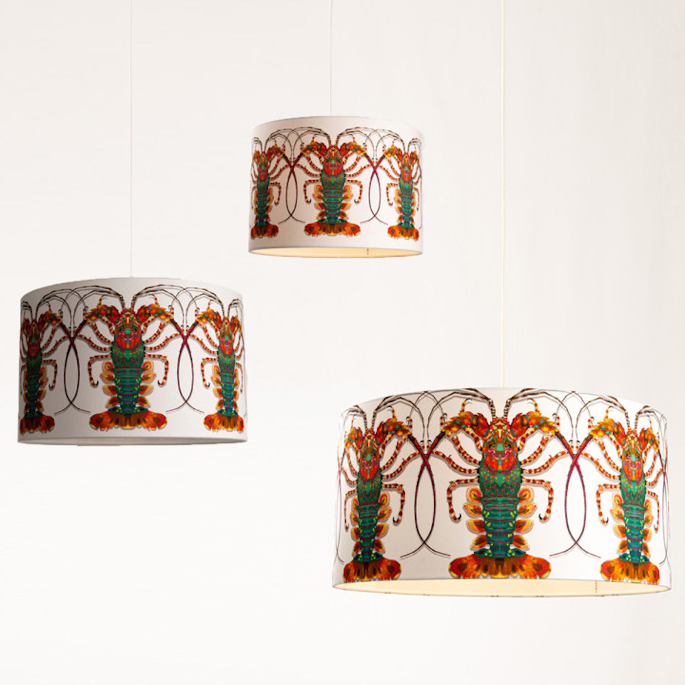 Timorous Beasties lobster print lampshades