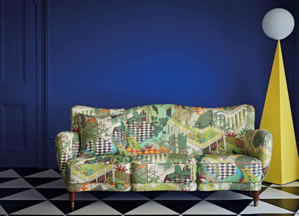 Bright blue wall and Harriet Holgate Versailes Grand fabric SOFA