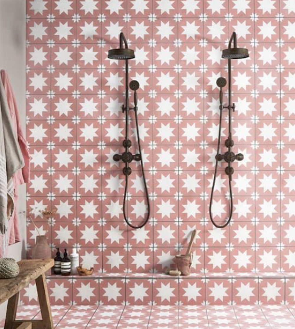 Fired Earth pink star Encaustic tiles