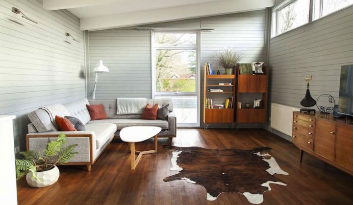 Stylish mid-century interior with cowhide rug.