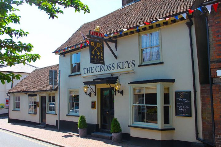 cross keys pub white building slanted roof