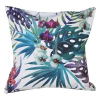 secret messages bright blue green and pink botanical print cushions