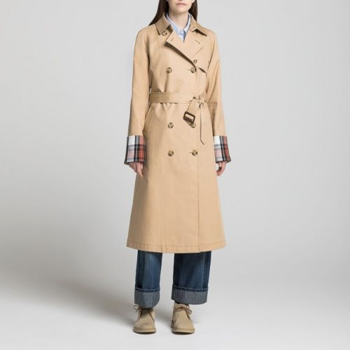 model wearing beige jw anderson trench coat white background