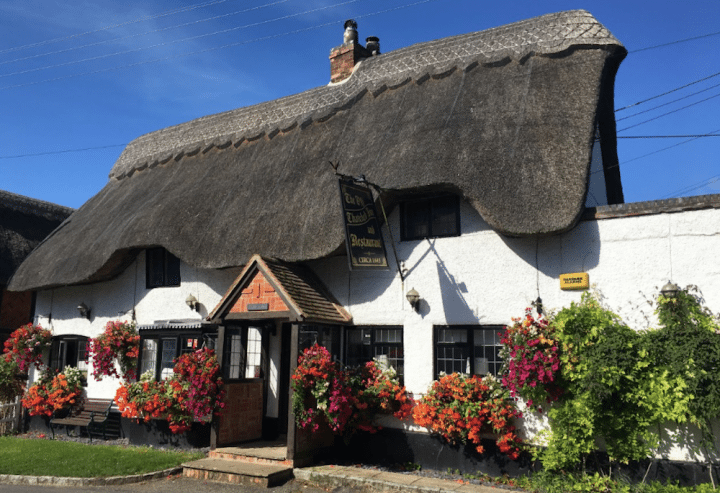 old thatched inn pub white walls thatched roof pink flowers