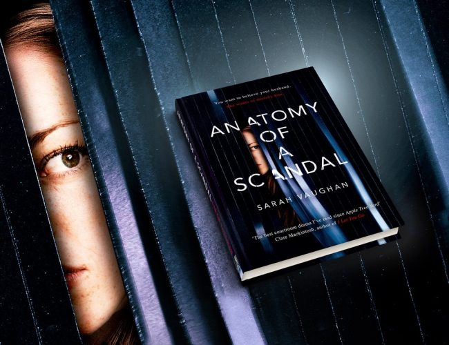 anatomy of a scandal novel hardback black cover woman eye looking through crack in door
