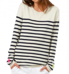 bias cut stripe white navy cashmere jumper pink yellow star sleeve
