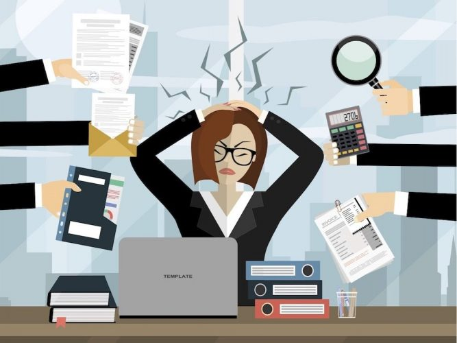 stressed businesswoman animation cartoon woman hand on head multiple hands holding out work items