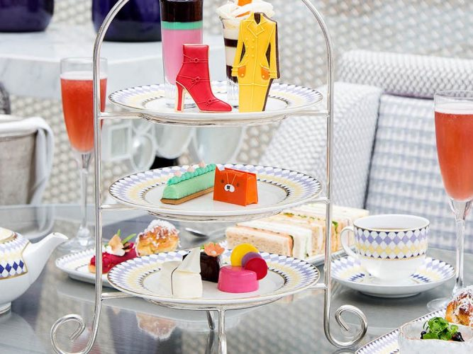 London afternoon tea fashion shaped food colourful