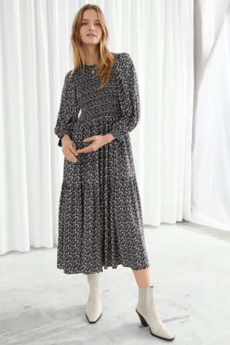 And other stories ditsy print black smocked dress