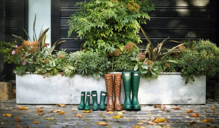 Coworth Park Hunter wellies green and one pair of leopard wellies