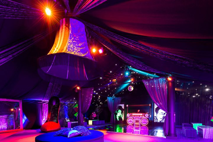 party setting with dance floor and purple lighting